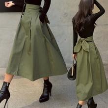 shintimes Skirts Womens Korean Fashion Solid Color Big Swing Ladies Skirt Long Skirt 2020 Autumn Wild High Waist Bow Slim Skirts