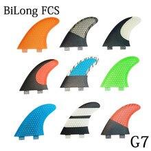 새로운 서핑 보드 지느러미 3PCS 세트 FCS 상자 G7 크기 유리 섬유 벌집 탄소 L 크기 FCS 지느러미 뜨거운 판매 서핑 핀 트라이 핀