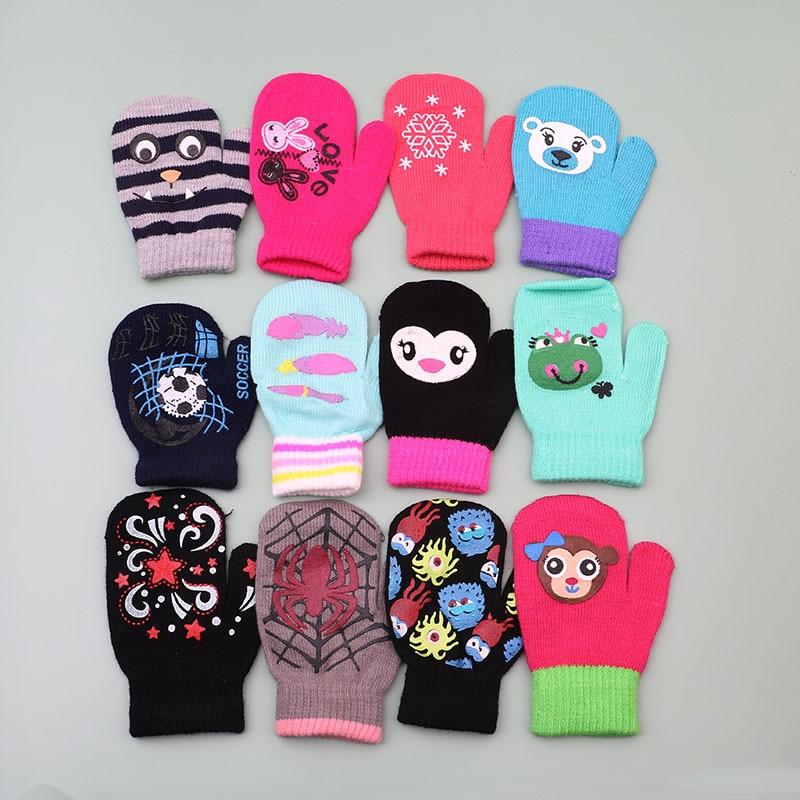 Winter Warm Gloves Children Knitted Mittens Kids Solid Girls Boy Stretch Christmas Gift Glove Boys Gloves 14cm