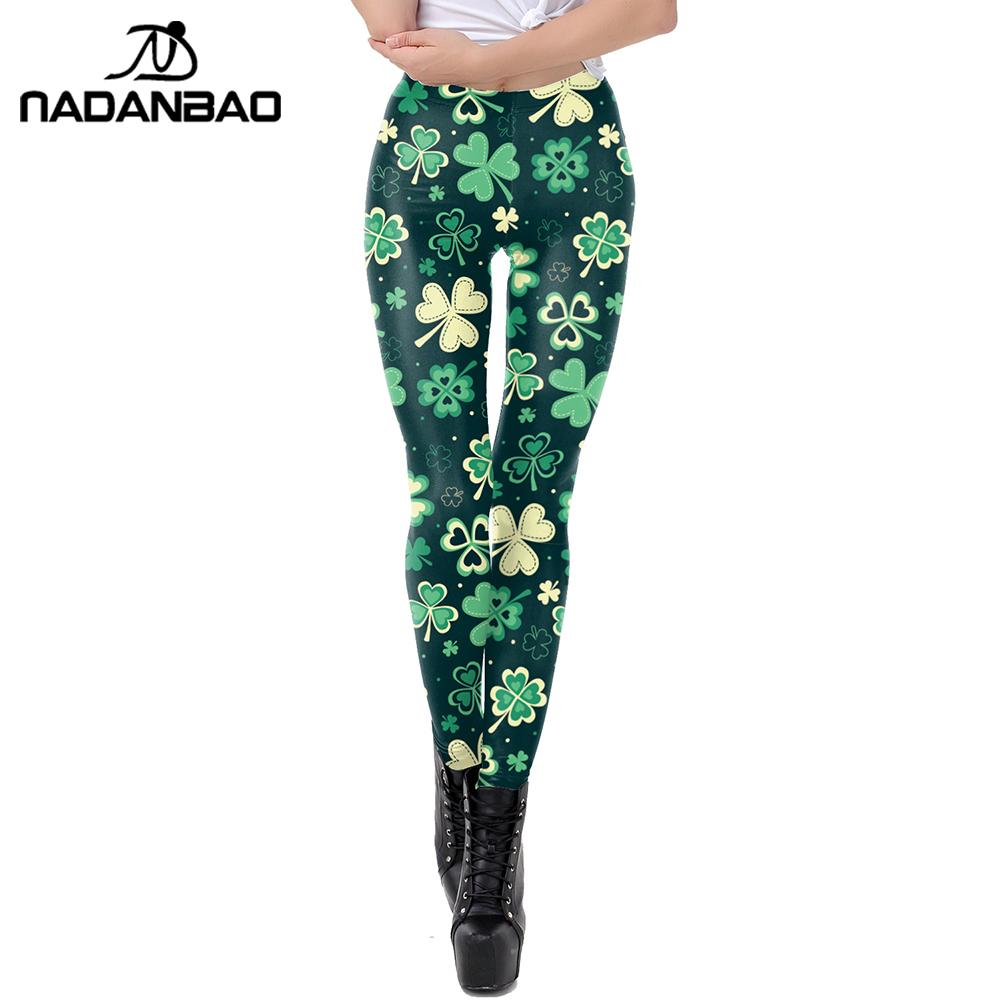 NADANBAO Fashion 3D Printing Women's Leggings For Saint Patrick's Day Green Shamrock Fitness Pants Workout Slim Leggins Spring