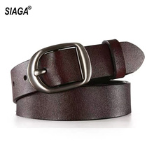 Ladies All-match Retro Style 100% Genuine Leather Belts Simple Buckle Metal Metal Casual Belt for Women Jeans 2.8cm AK034