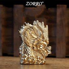 Zorro Тяжелая Броня зажигалка с драконом металлическая кремневая