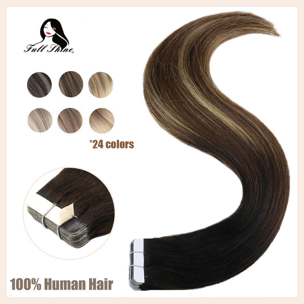 Full Shine Tape in Hair Extensions 50 Gram Glue On Hair Balayage Color Machine Remy Human Hair Extensions Invisible Hair Tapes