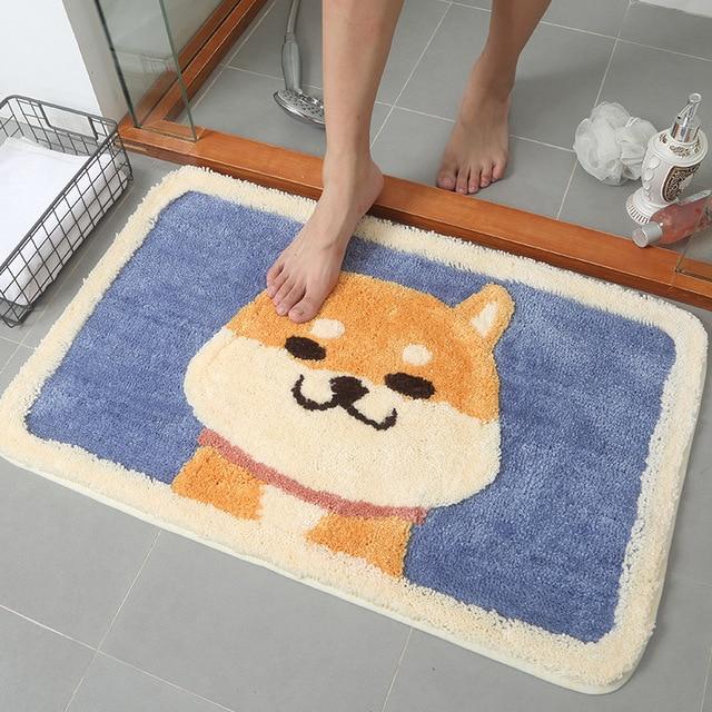 漫画の動物の犬ドアマット秋田とkirkyカーペットソフトマットかわいいホーム浴室バルコニー戸口マット吸収ノンスリップギフト