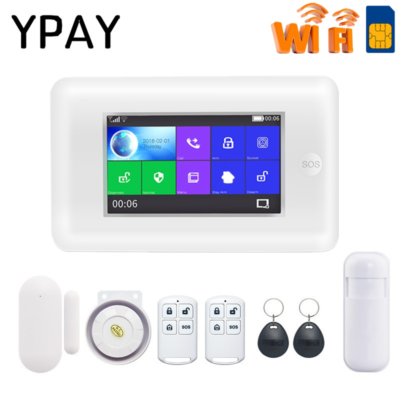 4.3Inch Color Screen Wireless Home Security WIFI GSM GPRS Alarm System APP Remote Control RFID Card Arm Disarm SOS Button