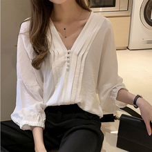 SexeMara 2019 Autumn New Full Lantern Sleeve V-neck Solid Color Button Ladies Fashion Loose Long Chifforn Shirt CST091