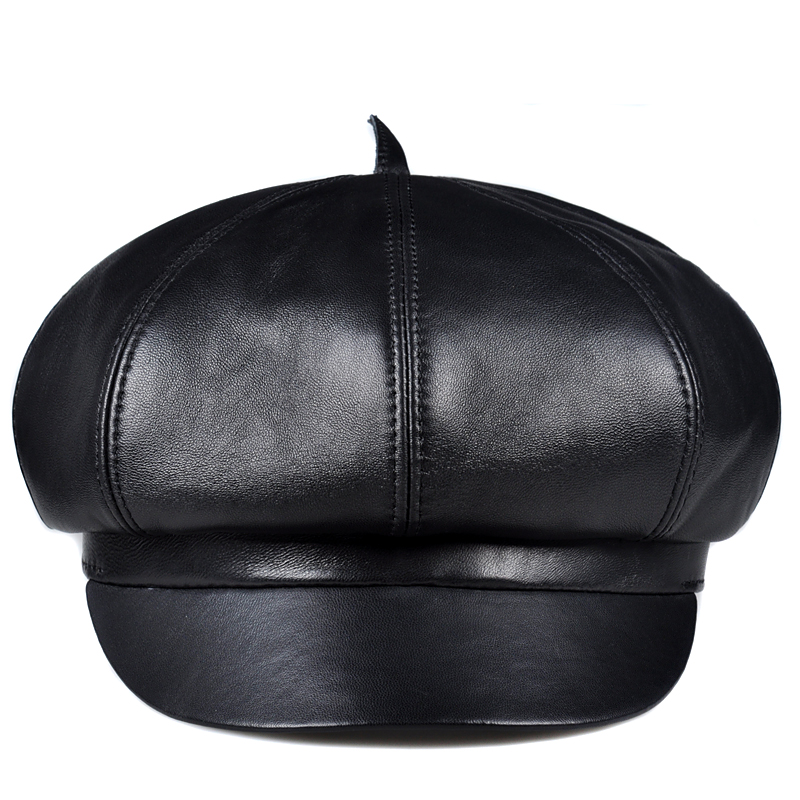 Pudi Man Натуральная овечья кожа шапка берет женские шапки Модные осенние шляпы Восьмиугольные шапочки HL903