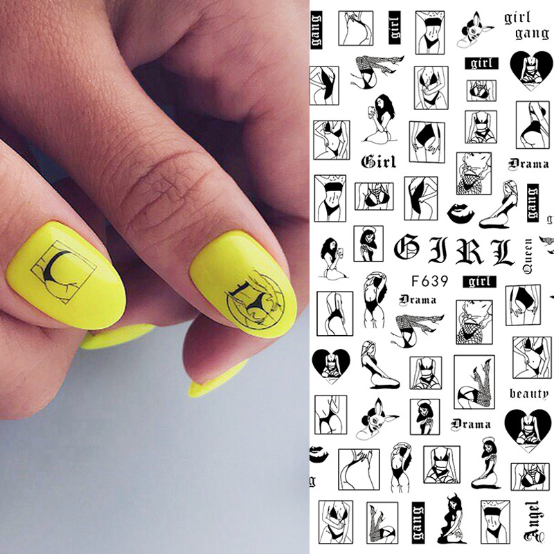 1pc Abstract Image <font><b>Nail</b></font> <font><b>Sticker</b></font> <font><b>Sexy</b></font> Women Slider Decals Naked Lady <font><b>Nail</b></font> Art Tattoo Manicure Wraps Drama Girl Accessories image