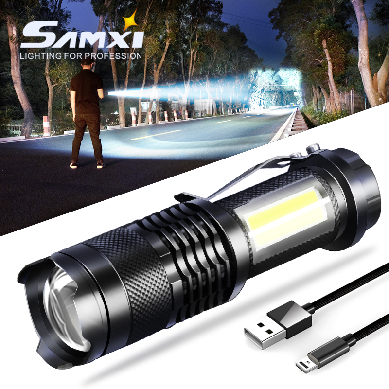LED Mini Aluminum Power Brightness Flashlight With Built-in Lithium Battery USB Rechargeable Outdoor Zoom Latern Lamp Flashlight