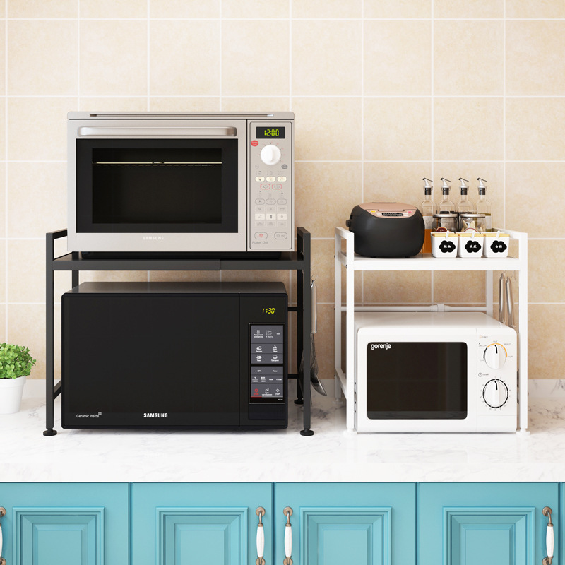 Telescopic Kitchen Rack Microwave Oven Rack Oven Floor Type Home Two-layer Rice Cooker Storage Storage Rack