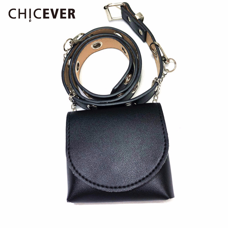 CHICEVER Korean PU Leather Women's Belt With Bag Metal Chain Accessories PU Leather Belts Female 2020 Korean Summer Fashion