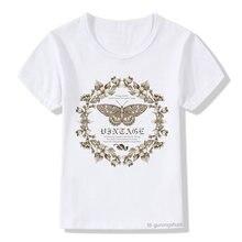 Милая футболка для девочек с мультяшным принтом бабочек и цветов