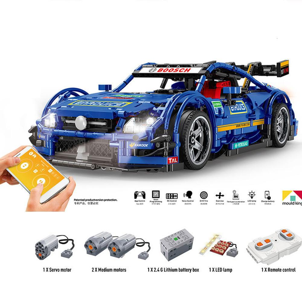 New Hot 1989Pcs 1:8 MOC 2.4G DIY Assembly Sports Car Building Block Construction Kit With Remote Control APP Modes