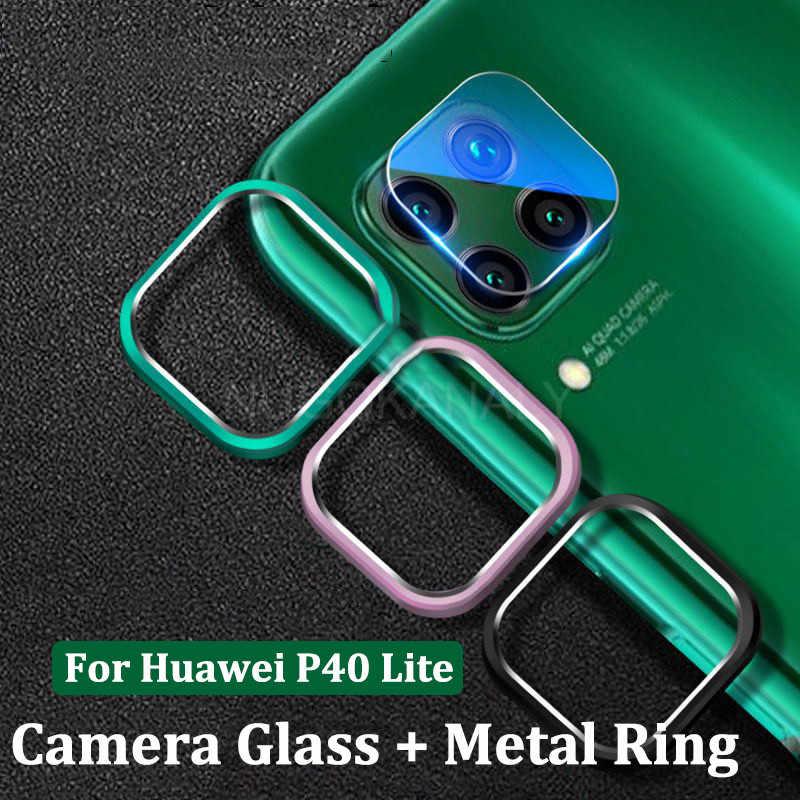 Kamera Lensa Kaca Tempered + Cincin Logam Penutup Case untuk HUAWEI P40 Pro Lite P30 P20 Kehormatan 20 Nova 7i 6 SE 5T 6SE Pelindung Layar