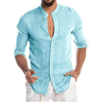 Men's New Summer Casual Cotton Linen Long Sleeve Button Down Shirt For Man Casual Shirts Cotton Shirts Dress Shirts Long Sleeve Men Print Shirts Shirts & Tops Slim Fit Summer Shirts T-Shirts Color: Sky blue Size: European Size M