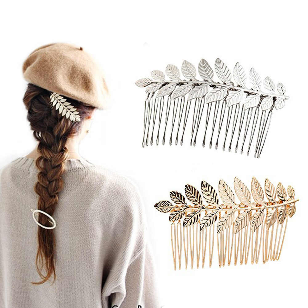 新ブライダル髪の宝石韓国ゴールド葉花輪ヘッドバンドヘア王冠ヴィンテージウェディングティアラヘアコームヘアクリップ女性女の子