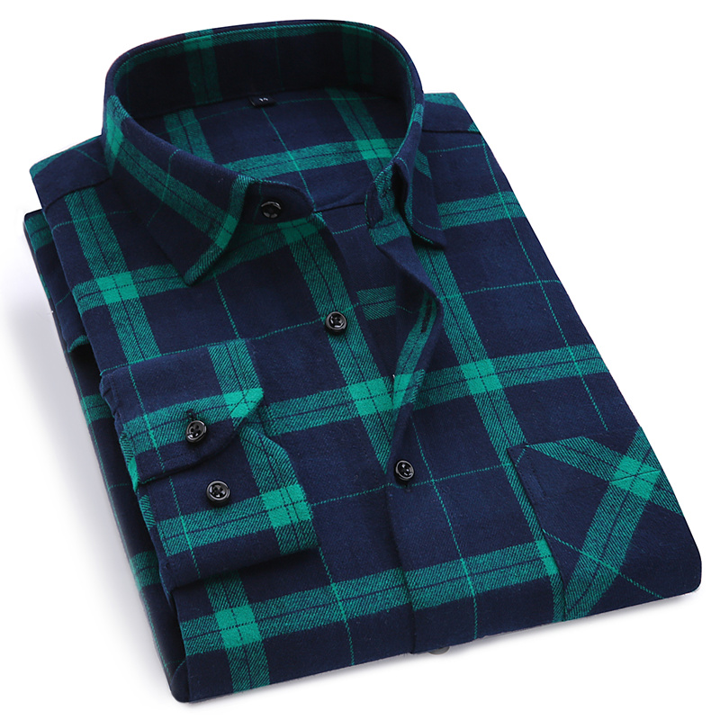 2020 New Mens Plaid Shirt 100% Cotton High Quality Mens Business Casual Long Sleeve Shirt Male Social Dress Shirts Flannel 4XL