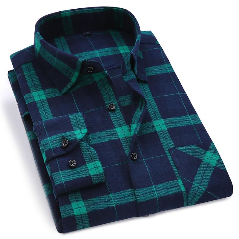 2020 New Mens Plaid Shirt 100% Cotton High Quality Mens Business Casual Long Sleeve Shirt Male Social Dress Shirts Flannel 4XL