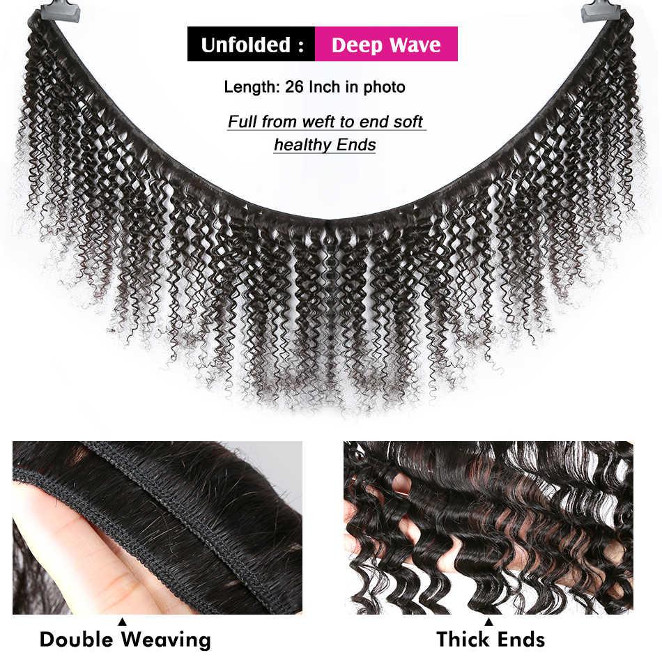 Extensiones de cabello humano de onda profunda, onda profunda, 8-40, extensiones de cabello humano brasileño, extensiones de cabello ondulado profundo, tejido de cabello virgen