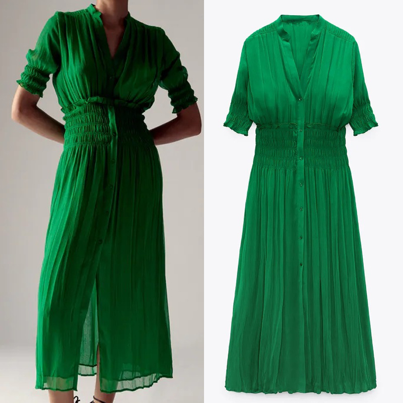TRAF Za 2021 женское Плиссированное Платье зеленое летнее шифоновое длинное платье для женщин с эластичной резинкой на талии, с короткими рукава...