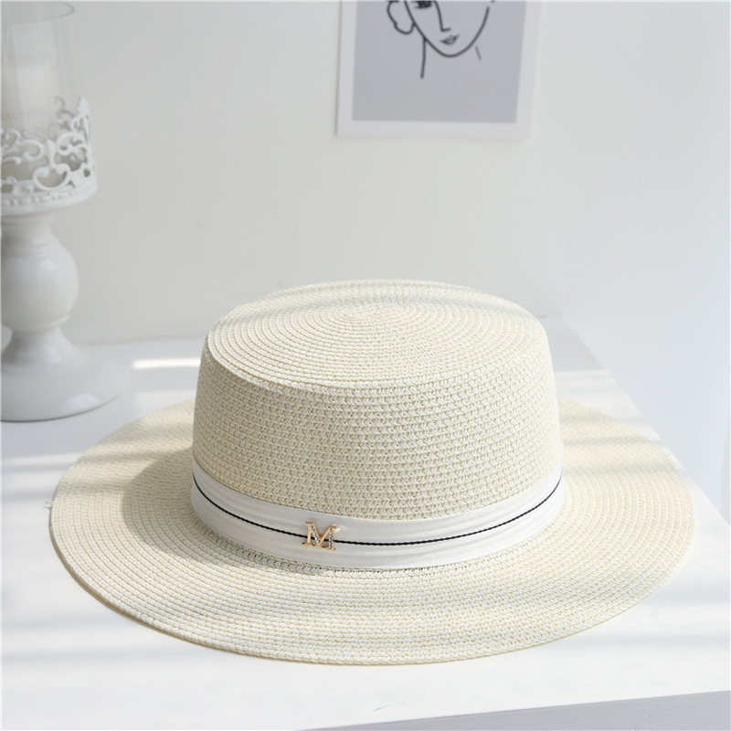 2020 Letter M Women Beach Straw Hat Outdoor British Style Cap Embroidered Flat Top Summer Female Wide Brim Sunhat04