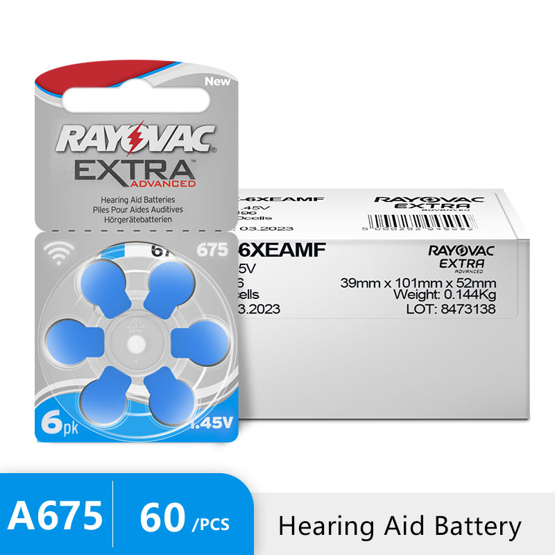 60 PCS Rayovac Extra Hearing Aid Batteries Zinc Air 675A 675 A675 PR44 For Hearing aidsbatteries zinc airrayovac extrahearing aid batteries -