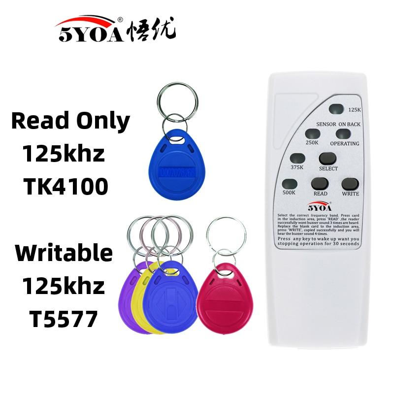 H8ebb6fdf5ed44fb0be7b6dcfacc0d81aD Handheld Rfid Card Reader Writer 125KHz Copier Duplicator ID Tags Programmer With Light Indicator EM4305 T5577 Key Card Keyfob