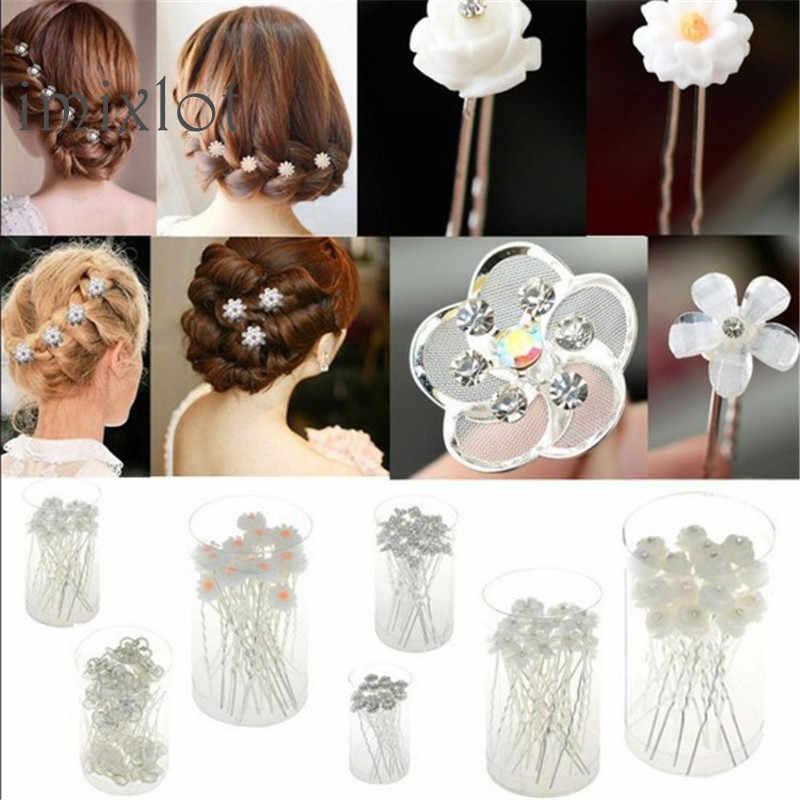 2019 Sale New Fashion 20pcs Lots Wedding Bridal Crystal Faux Statement Flower Hairpin Hair Clip Bridesmaid 6style U Choose