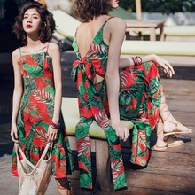 Women summer new style Beach dress Bohemian midi dress Printed Open back bow dress all over printed open shoulder dress