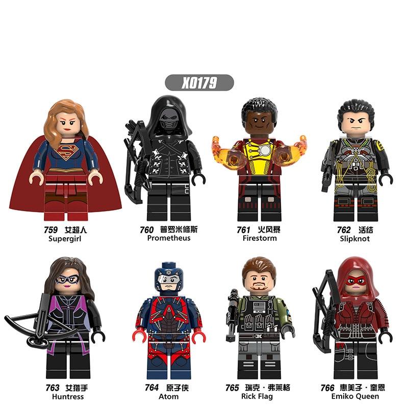 Super Heroes Building Blocks Model Huntress Emiko Queen Prometheus Rick Flag Action Figures Gift Toys For Children DIY X0179