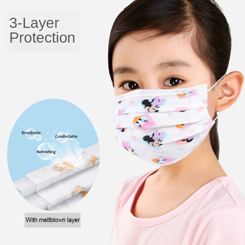 10/50PCS Fashion Cute Cartoon Kid Face Mask  Children Mask Anti-dust Breathable Mouth Mask Kids Ear Loop Face Filter Masks