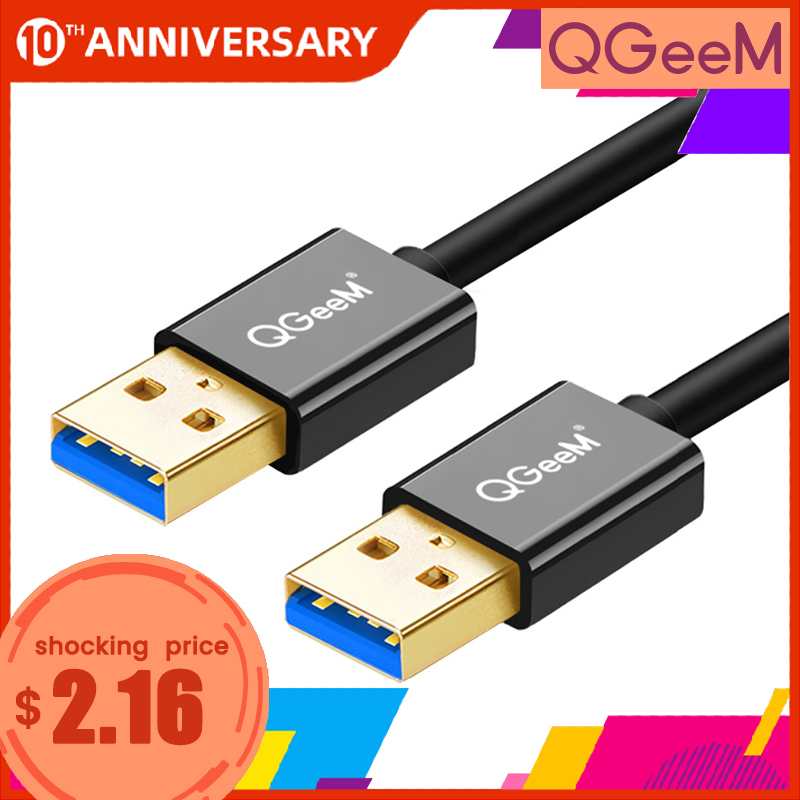 QGeeM USB 3.0 Cable Super Speed USB 3.0 A Male To Male USB Extension Cable For Radiator Hard Disk USB 3.0 Data Cable Extender