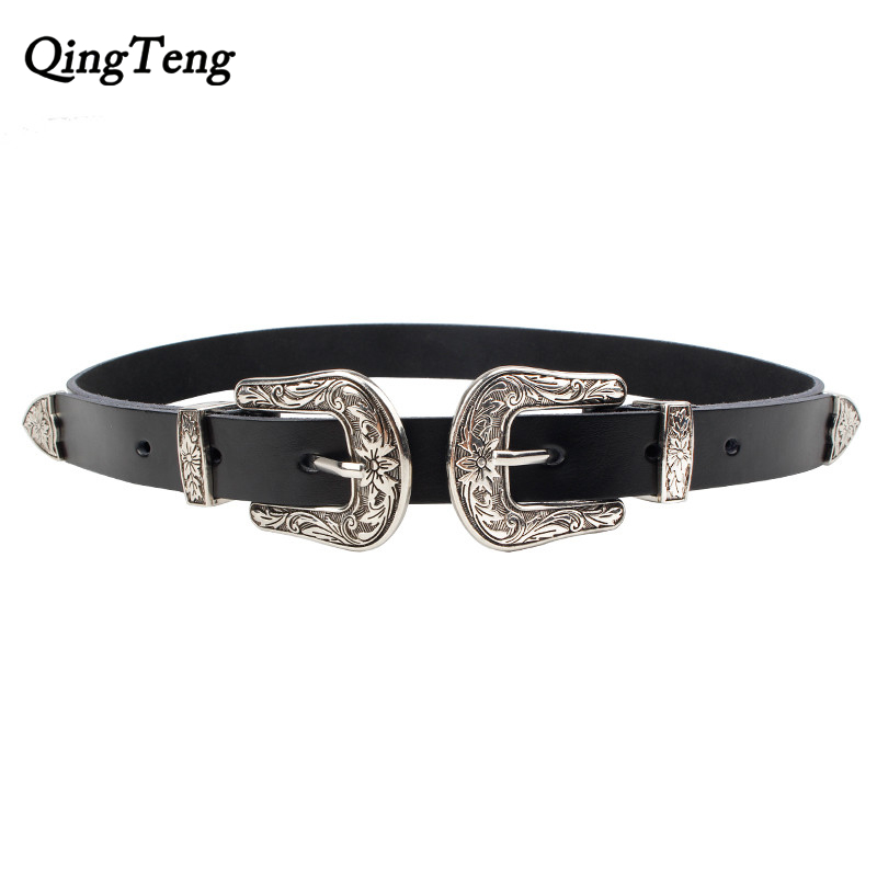 Carved Double Metal Pin Buckle Women Belts High Quality Vintage Female Genuine Leather Strap Brand Designer Lady Jeans For Belt