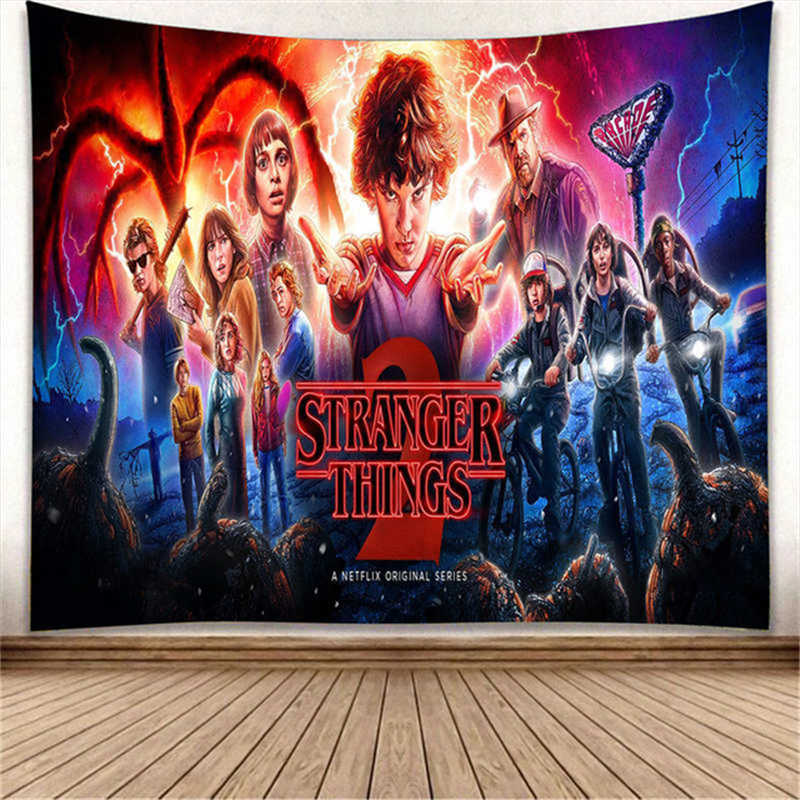 Stranger Things Printed Wall Tapestry Curtain Interior Boho Decoration Home Decor Bedroom Macrame Blanket Travel Picnic Mat