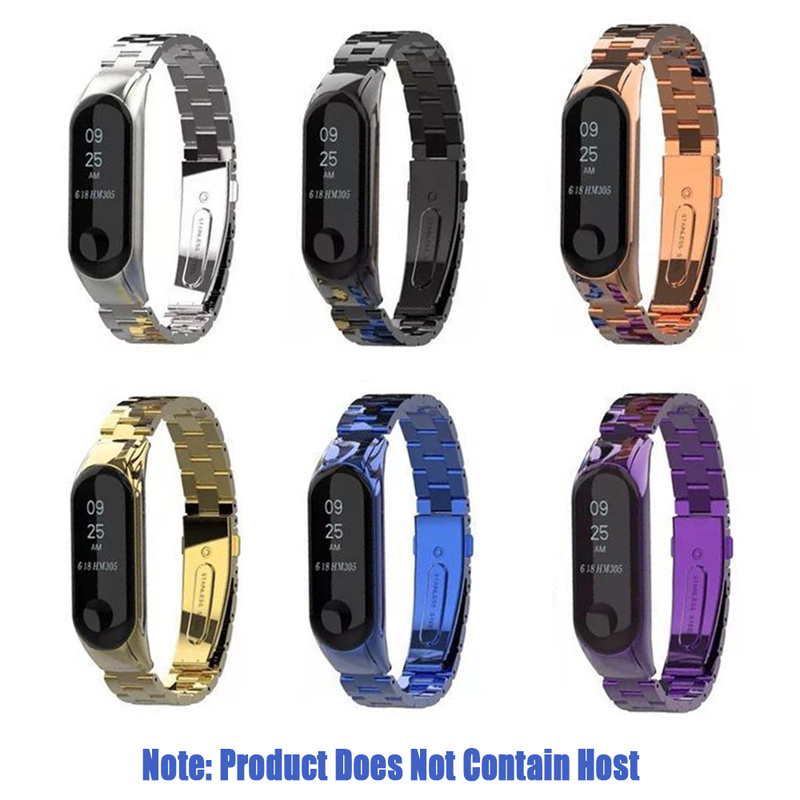 Stainless Steel Wrist Strap For Xiaomi Mi Band 3 Metal Luxury Bracelet Strap Adjustable Bracelet Clasp Replaceable Wristband