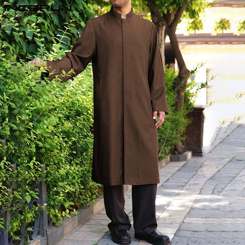 INCERUN Arabic Islamic Kaftan Men Muslim Clothing Loose Long Sleeve Solid Men Robes Dubai Saudi Arabia Abaya Jubba Thobe 2020|Islamic Clothing|   - AliExpress