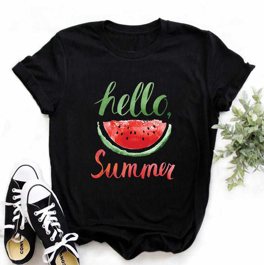 Phụ Nữ Hello Summer Dưa Hấu Harajuku Đen Áo Nữ Áo Thun Tay Ngắn In Shirted Nữ Vogue Áo Thun