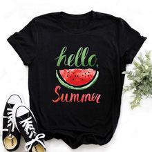 T-shirt manches courtes femme noir, estival et estival, Harajuku, pastèque