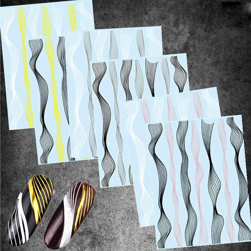 5 stijlen 3D Nail Art Stickers Laser Gold Metal Golf Streep Lijnen Stickers Zelfklevende Striping Tape Nail Folies Decal Manicure tips