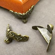 Funda de madera decorativa para pies, Protector de esquina, caja de regalo de joyería dorada, soportes de pie, pie de soporte inferior de muebles de aleación, 4 Uds.