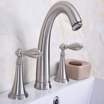 Deck Mounted 3 Holes Bath Tub Mixer Tap Brushed Nickel Brass Widespread 2 Handles bathroom basin Faucet abn016