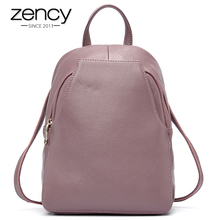 Zency Charm Women Backpack 100% Genuine Leather Anti theft Button Elegant Female Travel Bags Schoolbag For Girl Holiday Knapsack