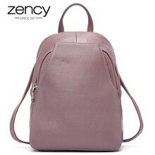 Zency mochila de piel auténtica con botón antirrobo para mujer, bolso de viaje elegante, escolar, para vacaciones, 100%