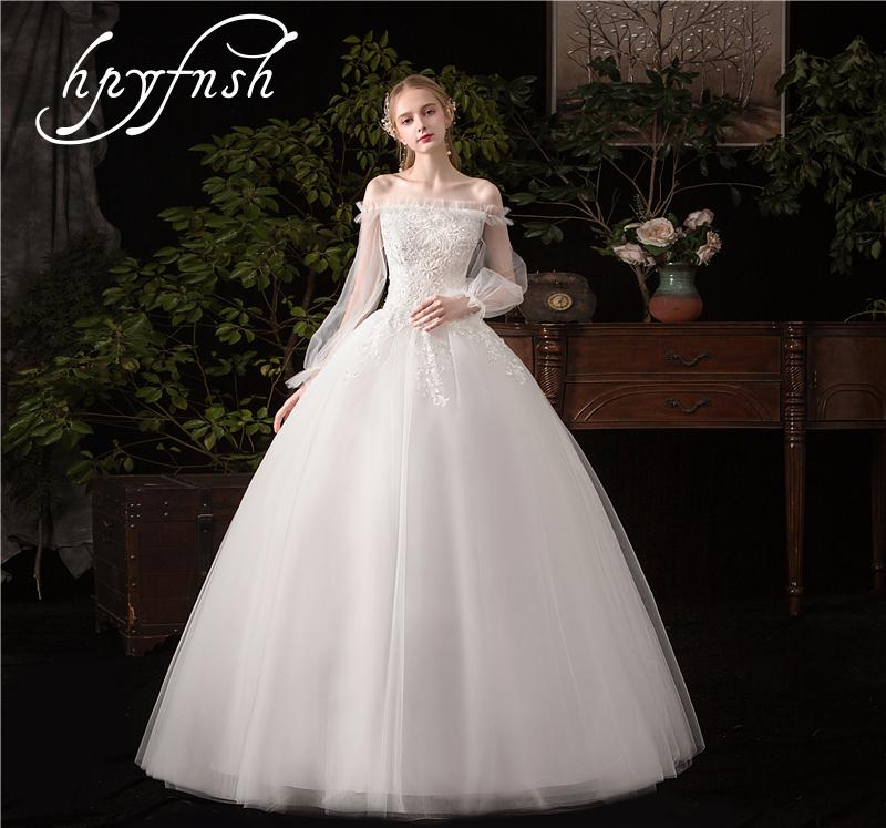 HPYFNSH Wedding Dress Full Fashion Sexy Elegant Boat Neck Lantern Sleeve Vestido De Noiva Lace Embroidery Gowns Plue Size G50