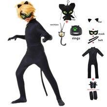 Costume de Cosplay pour enfants, bagues imprimées chat Noir, fille et garçon, costume d'halloween Adrien Marinette Plagg Tikki