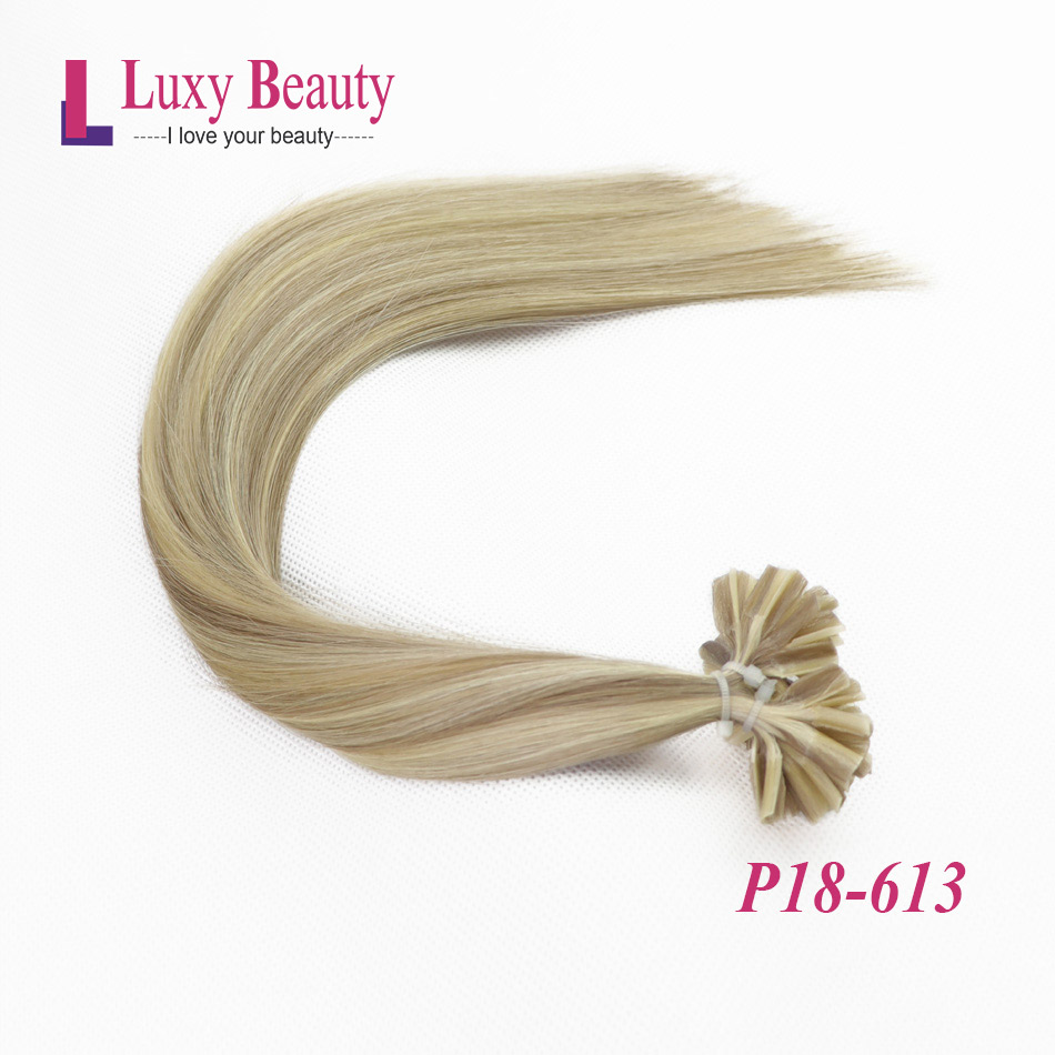 LuxyBeauty Nail Hair Remy Human Hair Fusion Human Hair Extensions 1g/pc #P18-613 Keratin Straight Machine Made 12