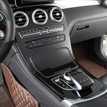 Abs preto console central painel decoração capa guarnição 2 pçs para mercedes benz classe c w205 glc x253 estilo do carro modificado