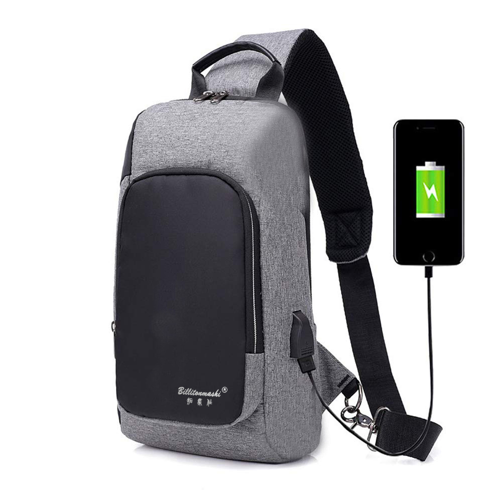 Casual Men's Chest Pack USB Charging Briefcase Waterproof Wearable Shoulder Bag Outdoor Transparent Shoulder Bag