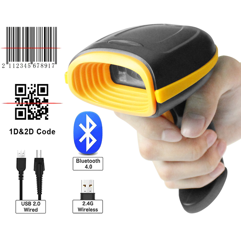 Handheld Drahtlose Verdrahtete Bluetooth Barcode Scanner 1D/2D QR Bar Code Reader für Inventar POS-Terminal