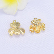 (151) 6PCS 10x20MM 24K Gold Color Plated Flower Pendants Charms High Quality DIY Jewelry Making Findings Accessories